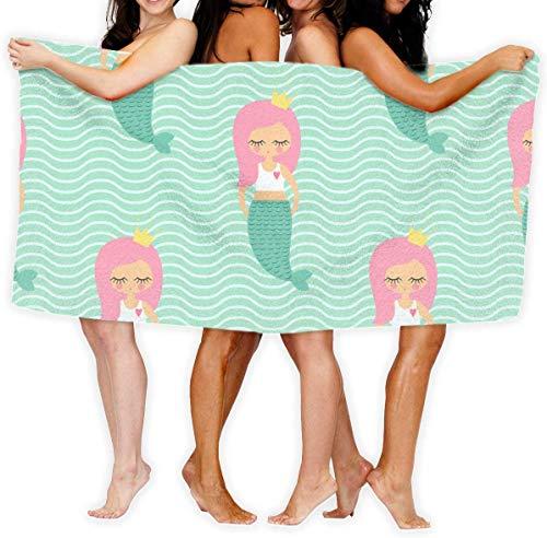 Desconocido Cute Pink Hair Mermaid Girl On Mint Green Waves