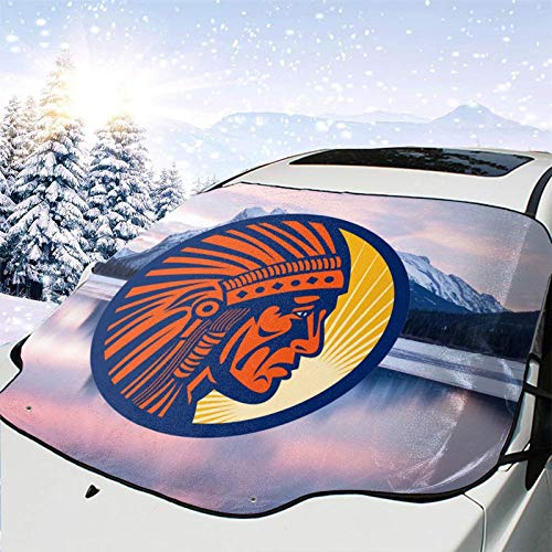 ZHTT Native American Indian Chief Warrior Car Windshield Snow Cover for Snow,Ice,Sun,Frost Defense with 4 Layers Protection,Extra Large Waterproof Windshield Cover Fits for Most Cars,SUVs and Trucks