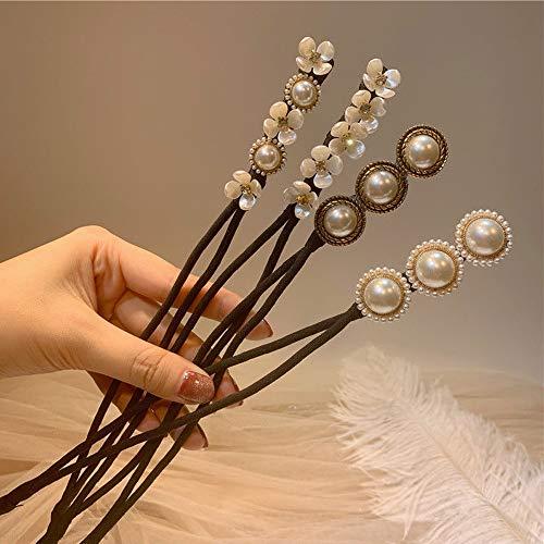 Lazy Flower Haarnadel - Elegante Fleischbällchen Kopf Haar Gerät Lazy Half Ball Haarnadel Einfache Perle Kopfschmuck Haarschmuck, Retro Pearl Flower Haarnadeln für Frauen (4Pcs)