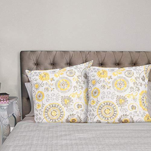 Viste tu hogar Pack 2 Fundas de Cojin 45x45 cm, Algodón y Poliéster, para Decoración de Hogar en Color Gris y Amarillo con Patrón de Flores.