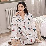 CIDCIJN Pijama para Mujer,Moda Encantador Otoño Pijamas para Las Mujeres Algodón Estrella Y La Luna Impresión Pijama Conjunto Ropa De Hogar para Las Mujeres Pijamas, Color, L