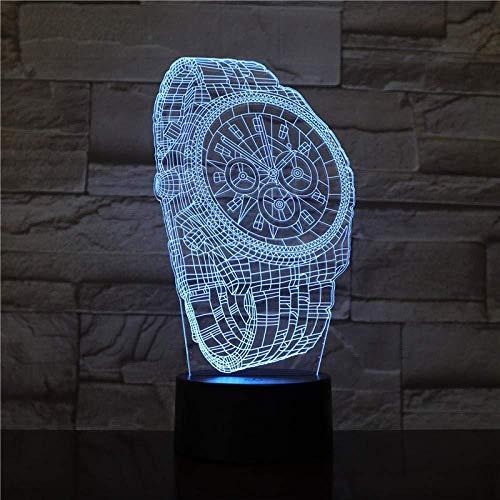 Reloj de pulsera abstracto con ilusión óptica 3D Night Light 7 colores Night Light para niños Niños y niñas como regalos perfectos en cumpleaños o días festivos
