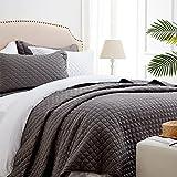 SunStyle Home Steppdecken-Set für Doppelbett, grau, leichte Tagesdecke, weiche Decke für alle Jahreszeiten, 2-teiliges Diamant-Bettwäsche-Set (1 Steppdecke, 1 Kissenbezug) (172,7 x 218,4 cm)