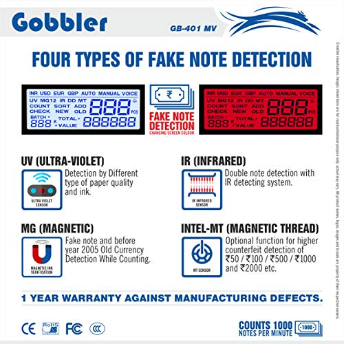 GOBBLER 301-MV Note Counting Machine with Fake Note Detection
