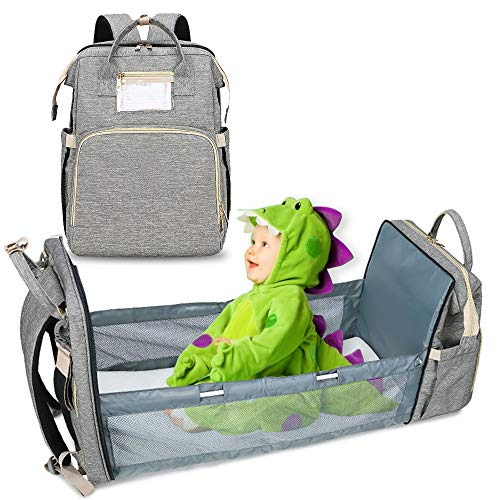 5-in-1Travel Bassinet Foldable Baby Bed - Large Mummy Diaper Bag Backpack Changing Station - Multifunction Portable Babies Crib with Mattress - Waterproof Folding Infant Sleeper with Stroller Straps