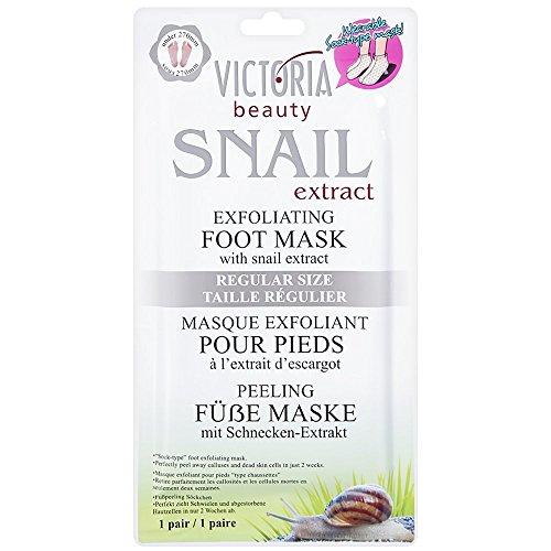 Victoria Beauty – Fußmaske Socken mit Schnecken-Extrakt – Exfoliating Foot Mask für samtweiche und zarte Füße nach erster Anwendung – Beste Fußpflege gegen Schwielen und abgestorbene Haut