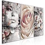 murando - Bilder Abstrakt 120x60 cm Vlies Leinwandbild 3 TLG Kunstdruck modern Wandbilder XXL Wanddekoration Design Wand Bild - Blumen Rose Magnolien Frau b-C-0341-b-e