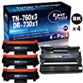 (4-Pack, 3 Toners & 1 Drum) Compatible 3-Pack 760 TN-760 Toner Cartridge + 1-Pack DR-730 DR730 Imaging Unit Used for HL-L2350DW L2390DW L2395DW L2370DWXL DCP-L2550DW MFC-L2710DW L2750DWXL, by EasyPrin