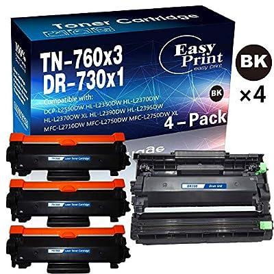 (4-Pack, 3 Toners & 1 Drum) Compatible 3-Pack 760 TN-760 Toner Cartridge + 1-Pack DR-730 DR730 Imaging Unit Used for HL-L2350DW L2390DW L2395DW L2370DWXL DCP-L2550DW MFC-L2710DW L2750DWXL, by EasyPrin