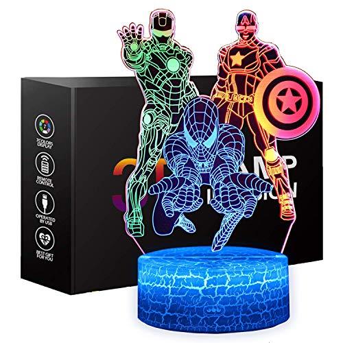 ONXE Spiderman Spielzeug Nachtlicht für Kinder, Geschenke Jungen, Touch-Steuerung, dynamische Farbwechsel mit 3 Mustern Kinder-Spielzeug für Captain America, Iron Man Geschenke