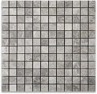 Silverado Gray 1X1 Marble Tumbled Mosaic Tile