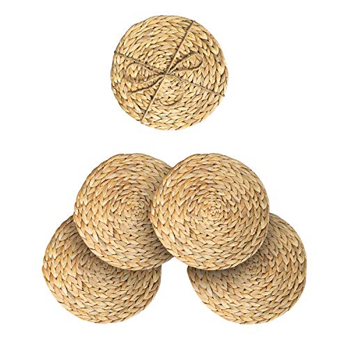 """HNCmua Round Woven Rattan Placemats Set of 4 - Natural Water Hyacinth Placemats - Seagrass Placemats Round - Jute Placemat - Wicker Chargers for Dinner Plates 11.81"""""""