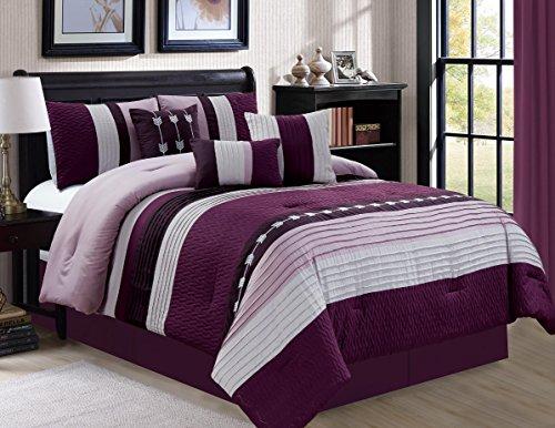Luxury 7 Piece Bed in Bag Comforter Set - Oversized (King, Purple)