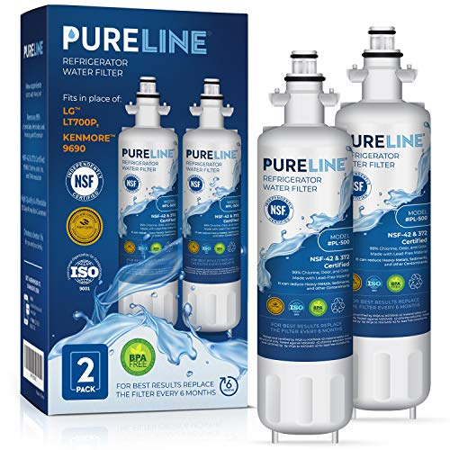 Pureline 9690 & LT700P Water Filter Replacement. Compatible with Kenmore Elite 9690, LG LT700P, ADQ36006101, Kenmoreclear 46-9690 & HDX FML-3. (2 Pack)