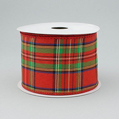2.5' Wide Expressions Christmas Metallic Plaid Wired Ribbon Red, Green, Gold & Blue (10 Yards) Christmas
