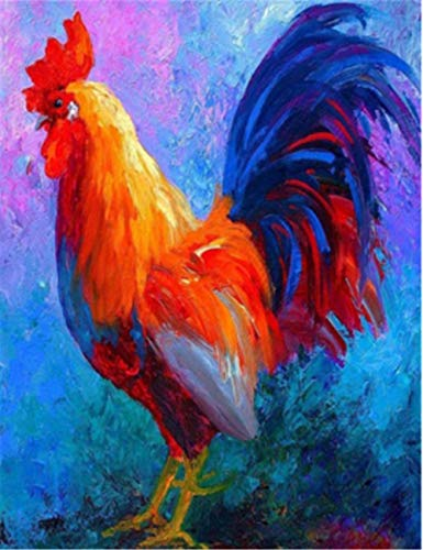 5D Diamond Painting Painted Art Rooster DIY Interior Decoration Painting-Round Diamond, 50x80cm