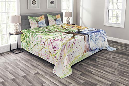 Ambesonne Tree Bedspread, Watercolor Style Tree with Colorful Blooming Branches 4 Seasons Theme, Decorative Quilted 3 Piece Coverlet Set with 2 Pillow Shams, Queen Size, White Green