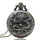 ZMKW Zodiaco Chino Rata/Buey/Tigre/Serpiente/Mono/Perro Diseño Lucky Colgante Reloj Collar de Bronce Antiguo Cadena de Reloj, Dragón