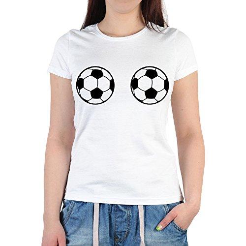 lustiges Frauenfussball Fan T-Shirt Damen zur WM Party 2015 Fußball Frauen Bundesliga Fussballfan Geschenk EM WM Gr. XXL in weiss : )