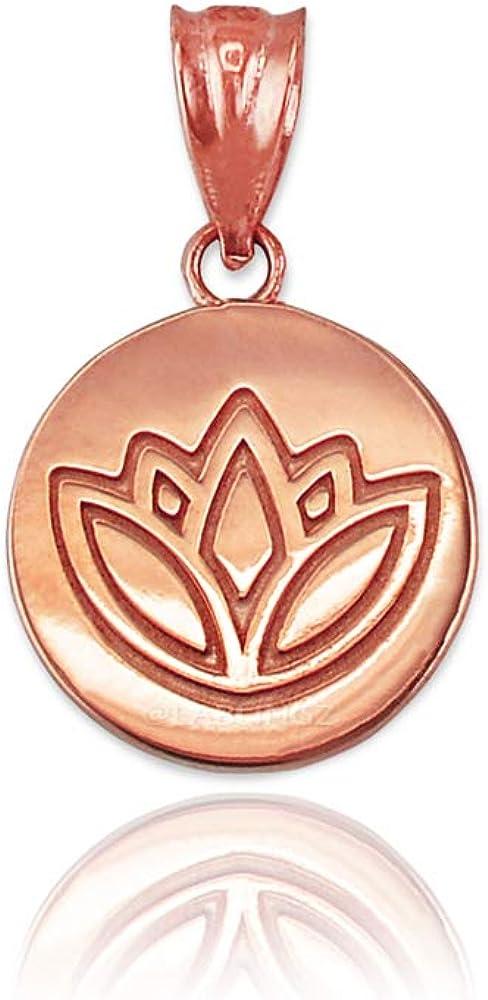 14K Rose 美品 Gold Lotus 2020新作 Necklace Medallion Charm