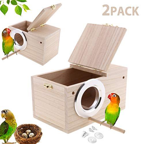 Hamiledyi Parakeet Nest Box 2Pcs Bird House Budgie Wood Breeding Box for Lovebirds, Parrotlets Mating Box