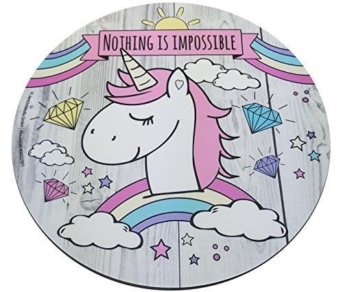 Preciosa alfombrilla para ratón redonda, de 22 cm, con dibujo de un unicornio UNICORN, pad para mouse de calidad de plástico resistente, con parte inferior antideslizante de caucho