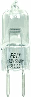 Feit Electric BPQ50T4/JCD Dimmable Halogen Lamp, 50 W, 120 V, T4, Bipin Gy6.35, 2000 Hr, Clear