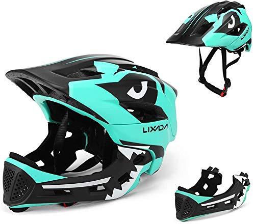BMX Casco integrale per bambini per ciclismo ed enduro, completamente regolabile con mentoner rimovibile, misura regolabile tra 48 e 58 cm (blu chiaro, 52 – 56 cm)