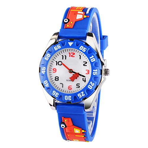 Venhoo Kids Watches 3D Cute Cartoon Digital Waterproof Silicone Children Wristwatches Time Teacher Gifts for 3 4 5 6 7 8 9 Years Old Age Boys-Blue