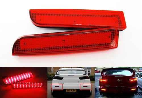 2 x rouge objectif pare-chocs arrière Réflecteur Feux Stop à LED Fog Light DRL pour 2008-up Mits Lancer Evo X Outlander ASX