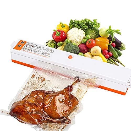 ECYC MáQuina De Envasado Al VacíO, MáQuina De Sellado Al VacíO AutomáTica De Alimentos para La ConservacióN De Alimentos con 10 Piezas De Bolsas De Ahorro De Alimentos, Naranja