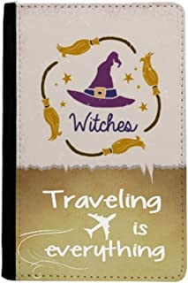 Purple Hat Cartoon Pattern Halloween Traveling quato Passport Holder Travel Wallet Cover Case Card Purse