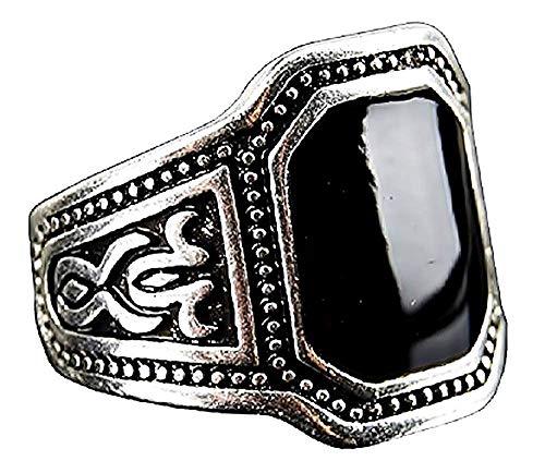 Rechthoekige zwarte stenen ring voor mannen en jongens - cadeau-idee