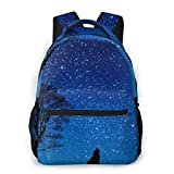 LNLN Mochila Casual para niñas Blue Wolf and Moon Laptop Backpack School Backpack for Men Women Lightweight Travel Casual Durable Daily Daypack College Student Rucksack 11 5in X 8in X 16in