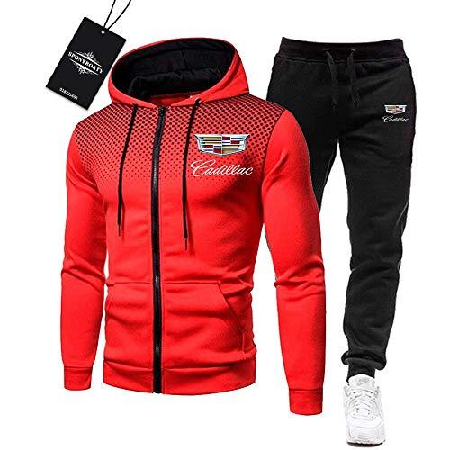 BOLGRTYXC de Los Hombres Chandal Conjunto Trotar Traje Ca-dillac Hooded Zipper Chaqueta + Pantalones Deporte R de Los Hombres /  Rojo/M