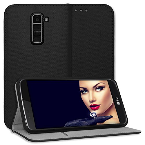 mtb more energy® Schutz-Tasche Bookstyle für LG K10 (K420N, 5.3'') -schwarz - Kunstleder - Cover Hülle Hülle