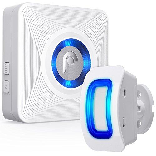 Fosmon Durchgangsmelder/Bewegungsmelder/Ladenglocke/Alarm-System/Tür-Klingel & Fenster Sensor/[Wireless|Erweiterbar|Batterie|150m Reichweite|110 db|Innen][1 Empfänger & 1 Sender Set]