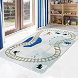 LIVEBOX Road Traffic Kids Play Mat, 3' x 5' Playroom Area Rug Soft Flannel Children Carpet Great for Educational & Fun with Cars and Toys Throw Rug for Living Room Bedroom Best Shower Gift for Kinder