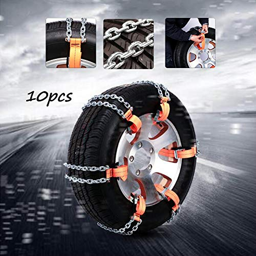 XYQCPJ 10 Stück Schneeketten Tragbarer Anti-Skid Metall-Reifenketten für Plötzlichen Schnee Notzugkraft Einfach zu Montieren Universal für Reifenbreite 165-285mm für PKW/SUV/LKW