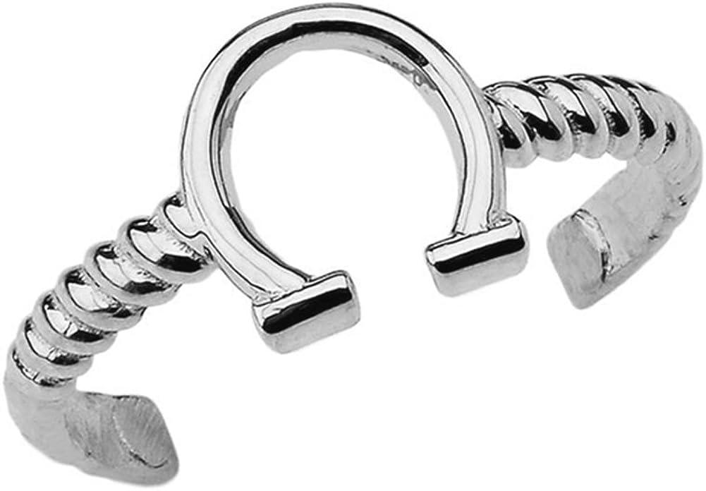 Fine 14k White Gold Horseshoe Rope Toe Ring