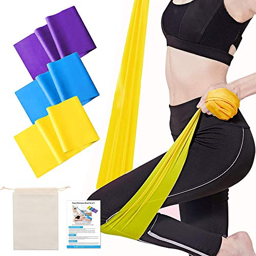 Yoassi Bande Elastiche Fitness (Set di 3), Fasce Elastiche con 3 Livelli di Resistenza, Fascia Elastica Esercizi 1,5 m Ideale per Yoga, Pilates, Crossfit, Stretching, Esercizi Fisici, Sportiva