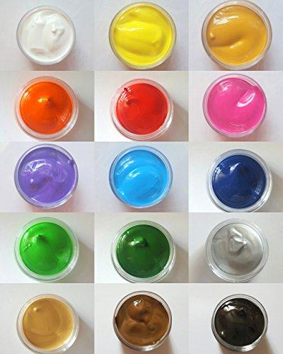 New Nail Art Lot de 15 pots de peinture acrylique XL pour nail art One-Stroke 10 ml Accessoires 12 couleurs Art pour fleurs One Stroke
