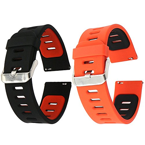 22mm Correa Silicona, EL-Move 22MM Silicona Banda Correas Brazalete de Pulsera para Pebble Time/Gear S3 Classic / Gear2(Blackred+RedBlack 2pcs)