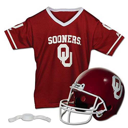 Franklin Sports Oklahoma Sooners Kids College Football Uniform Set - NCAA Youth Football Uniform Costume - Helmet, Jersey, Chinstrap Set - Youth M