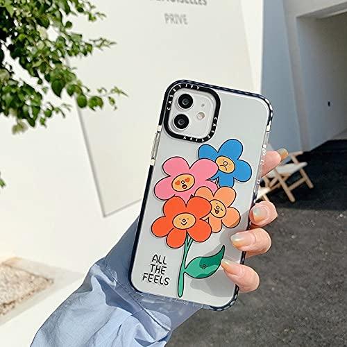 GGOIl Cute Cartoon Animal Smile Face Flower Funda de Silicona Suave para teléfono para iPhone 11 12 Pro MAX 11Pro SE 2020 7 8 Plus XS MAX X XR Cover, All The Feels, para iPhone 12Pro MAX