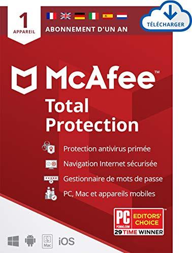McAfee Total Protection 2021 | 1appareil | 1 an| Antivirus, sécurité Internet, gestionnaire de mots de passe, VPN*, Protection de l'identité | PC/Mac/Android/iOS |Édition européenne| Download