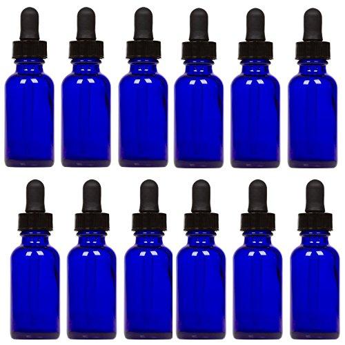 Botellas de cristal de cobalto con cuentagotas para ojos (1 oz, 12 unidades) para aceites esenciales, colonias y perfumes, la más alta calidad, etiquetas en blanco incluidas