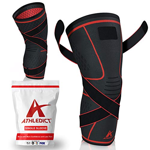 Athledict Knee Brace Compression Sleeve with Strap for Best Support & Pain Relief for Meniscus Tear, Arthritis, Running, Basketball, MCL, Crossfit, Jogging, Post Surgery Recovery for Men & Women, M