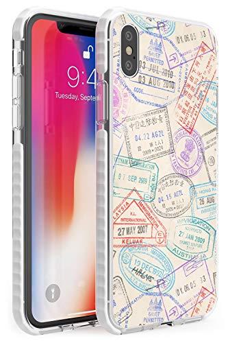 Francobolli d'Epoca Passport Impact Cover per iPhone XR TPU Protettivo Phone Leggero con Viaggio Wanderlust Vintage ▾ Modello Esplorare
