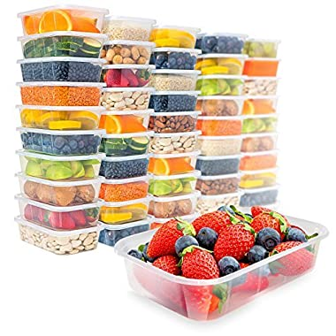 [50 pack, 17oz] Food Storage Containers With Lids - Plastic Containers With Lids Plastic Containers for Food Container With Lid - Freezer Containers Plastic Food Containers Deli Containers Meal Prep